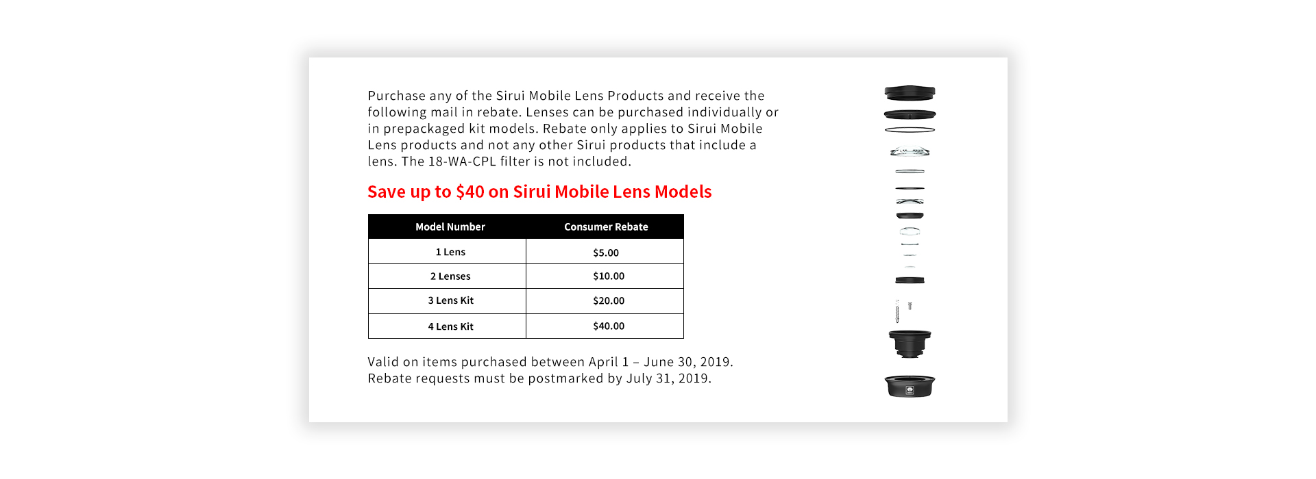 Up to $40 MIR on Mobile Lens Models